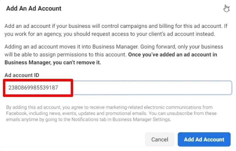 Add an Ad account by entering your ad account ID