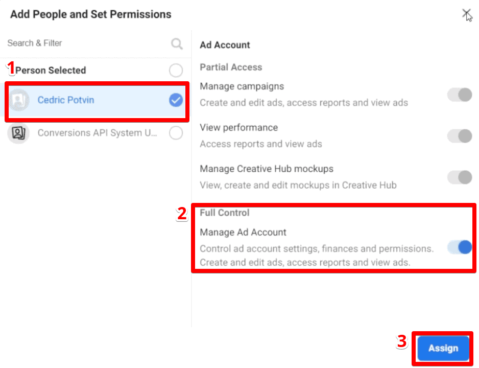 Add people users and set permissions for an Ad Account on Business Manager