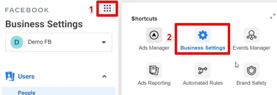 Add social media pages and accounts to Facebook Business Manager under Business Settings