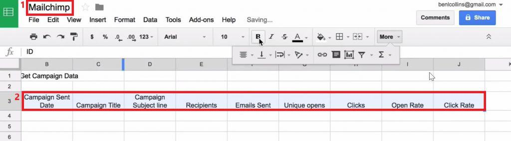 Adding headings to the Google Sheets to analyze data