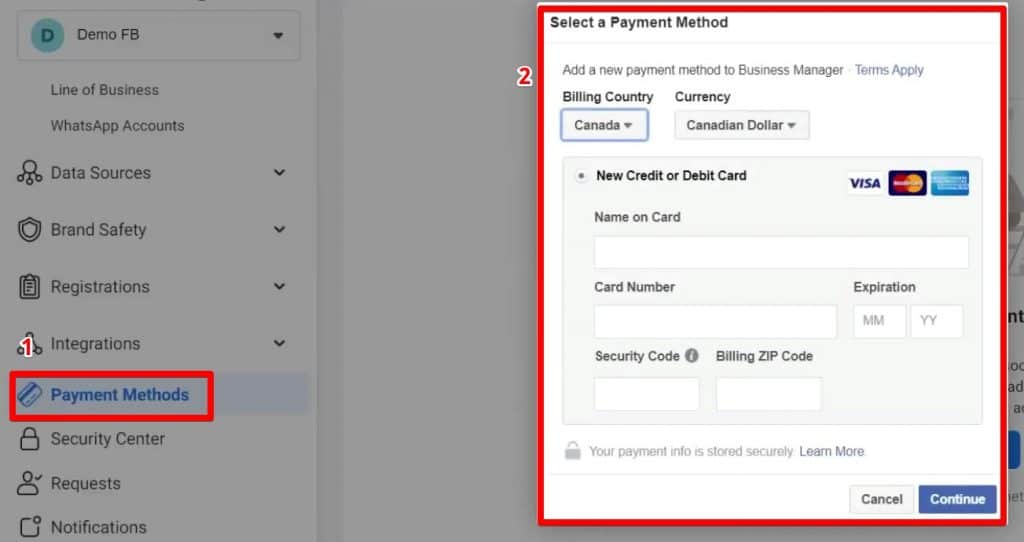 Adding or selecting payment methods for a Business Manager account