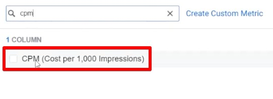 Adding the cost per 1000 impressions metric for analyzing ad results in Facebook Business Manager