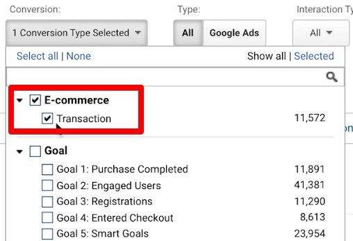 Checking the E-commerce and Transaction conversion type in Google Analytics report
