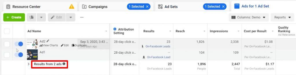 Checking the number of ads present in a Facebook ad set from Facebook Business Manager