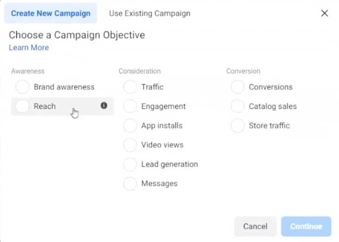 Choosing a Campaign Objective in Facebook Ads Manager