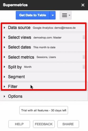 Collecting data from Google Analytics using Supermetrics