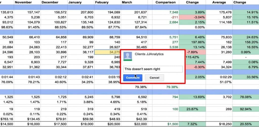 Commenting on Google Sheets for easier collaboration