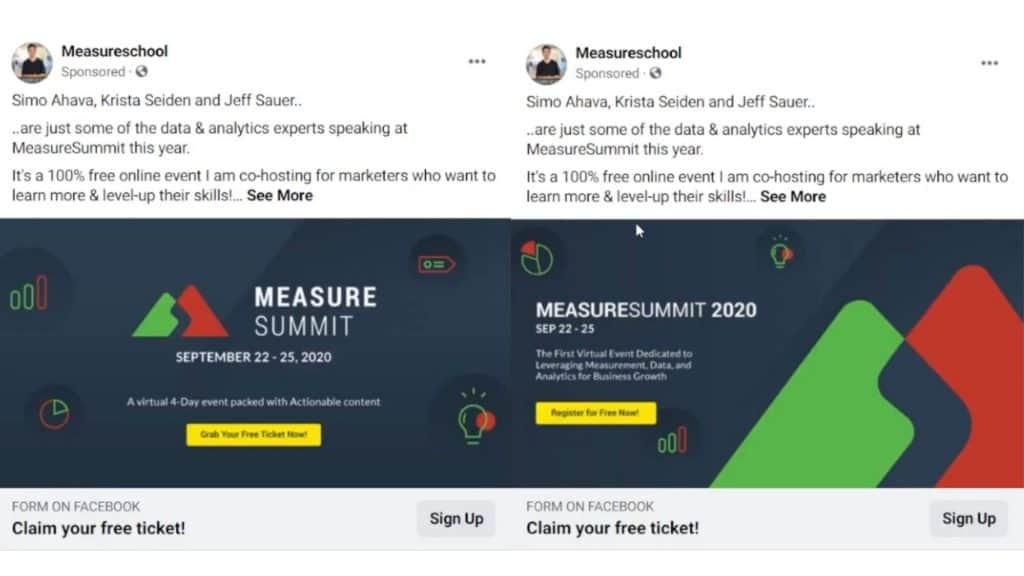 Comparing two ads in an ad set for impressions in a Facebook Ad campaign