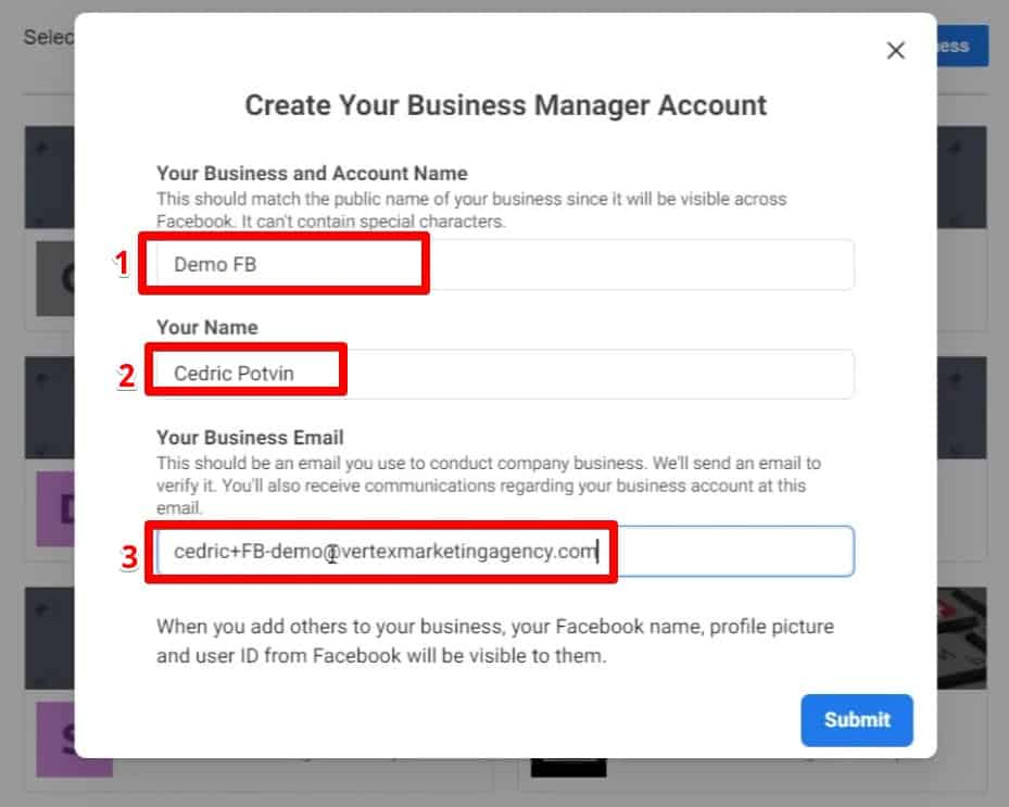 Create Business Manager Account popup requires business name, your name, and your business email address