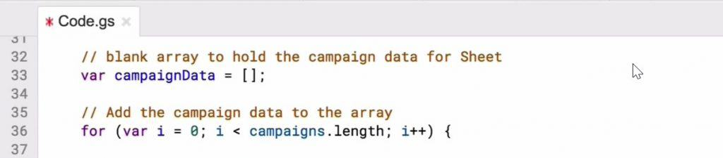 Creating a blank array to hold the campaign data for sheet in the Script editor