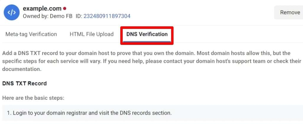 DNS Verification for to verify our Domain in Business Manager