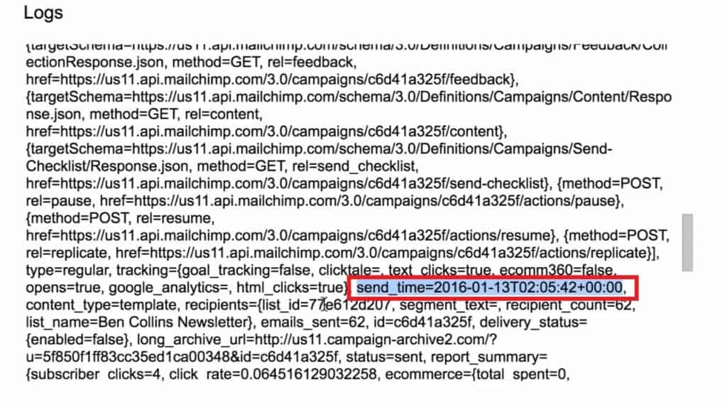 Data returned by MailChimp in the Logs in Script editor