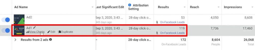 Examining the different ads present in a Facebook ad campaign from Facebook Business Manager