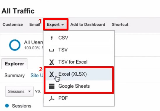 Exporting the Google Analytics reports to Excel