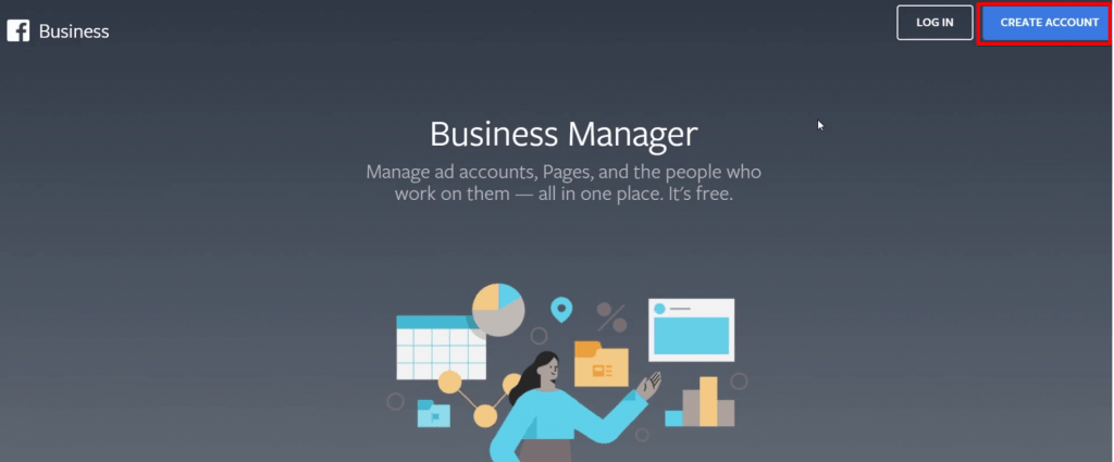 Facebook Business Manager homepage with Create Account button highlighted