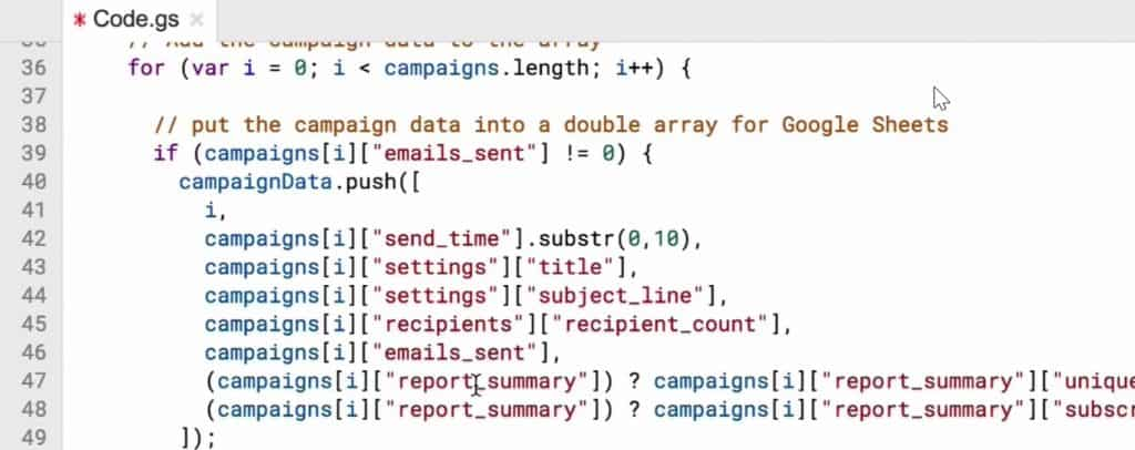 Fetching campaign data such as title, subject-line, emails_sent from the MailChimp account