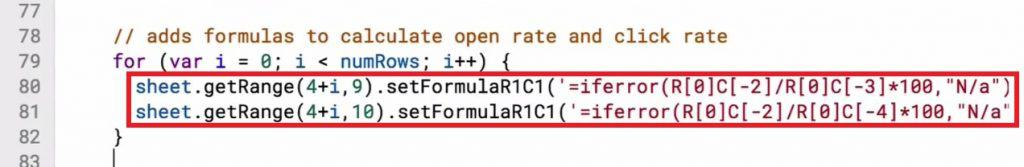 Formulas for Open Rate and the Click Rate in the Script editor