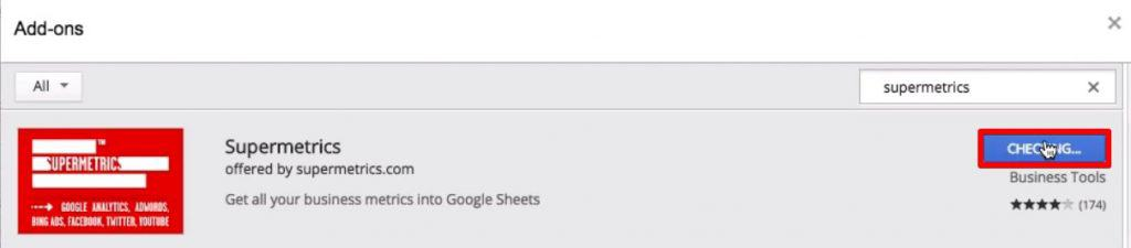Installing the add-on Supermetrics for from the extension gallery of Google sheets