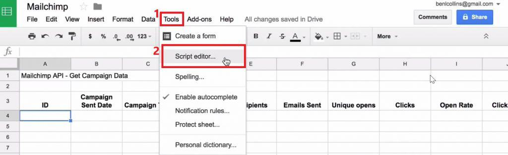 Opening Script editor from the Tools in Google Sheets