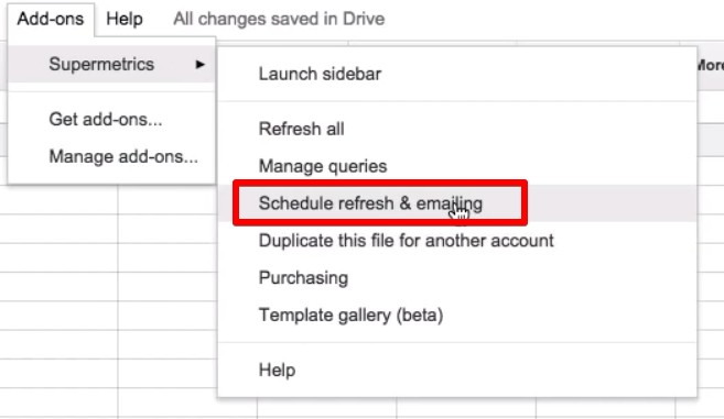 Schedule refresh & emailing feature of Supermetrics