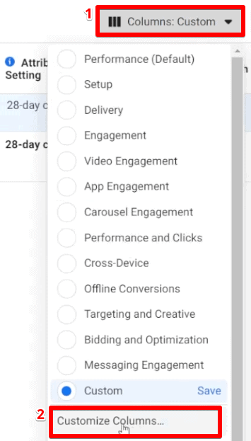 Selecting customize columns option to set up columns in the metrics from Facebook Business Manager for Facebook ads analysis