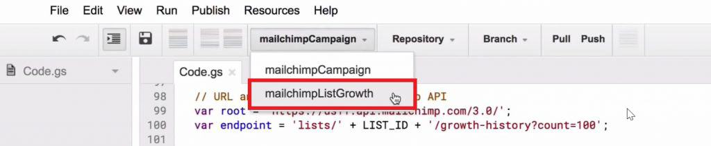 Selecting the mailchimpListGrowth in the Script editor