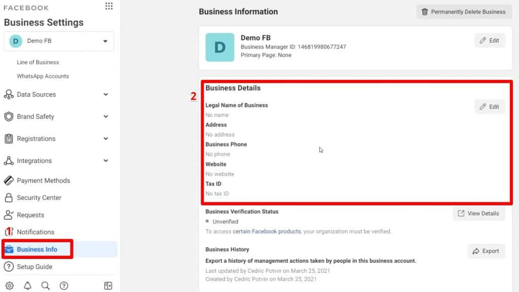 Setting up Business Information on a Business Manager account