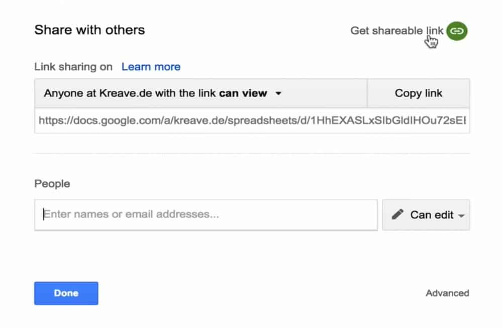 Sharing Google Sheets with other users