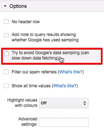 Try to avoid Google's data sampling option is unchecked in Supermetrics