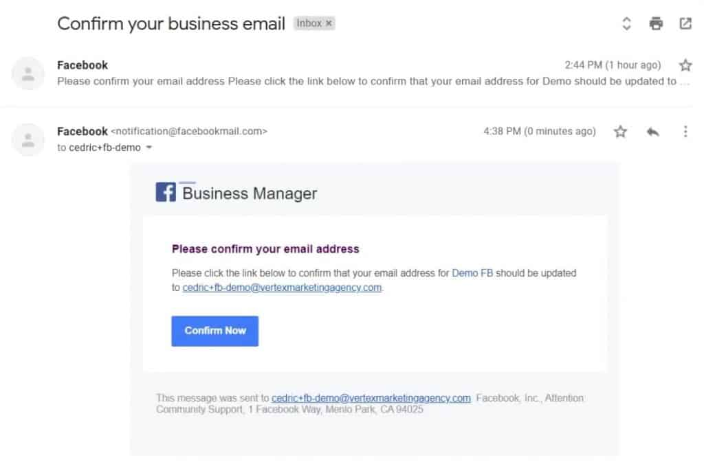 Verification email sent to confirm your email address to a for your Facebook Business Manager Account