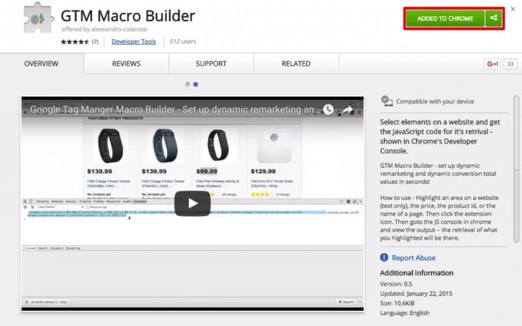 Adding the GTM Macro Builder plugin as a Google Chrome extension