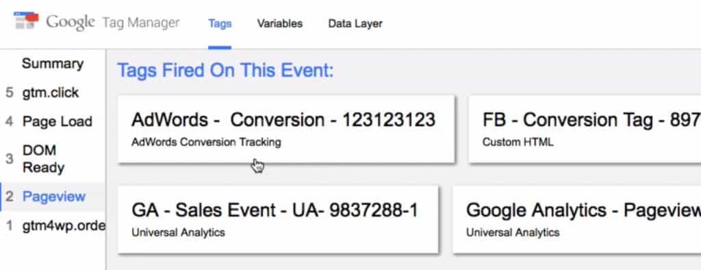 Checking the fired Tags on the Google Tag Manager preview mode after a purchase on the website
