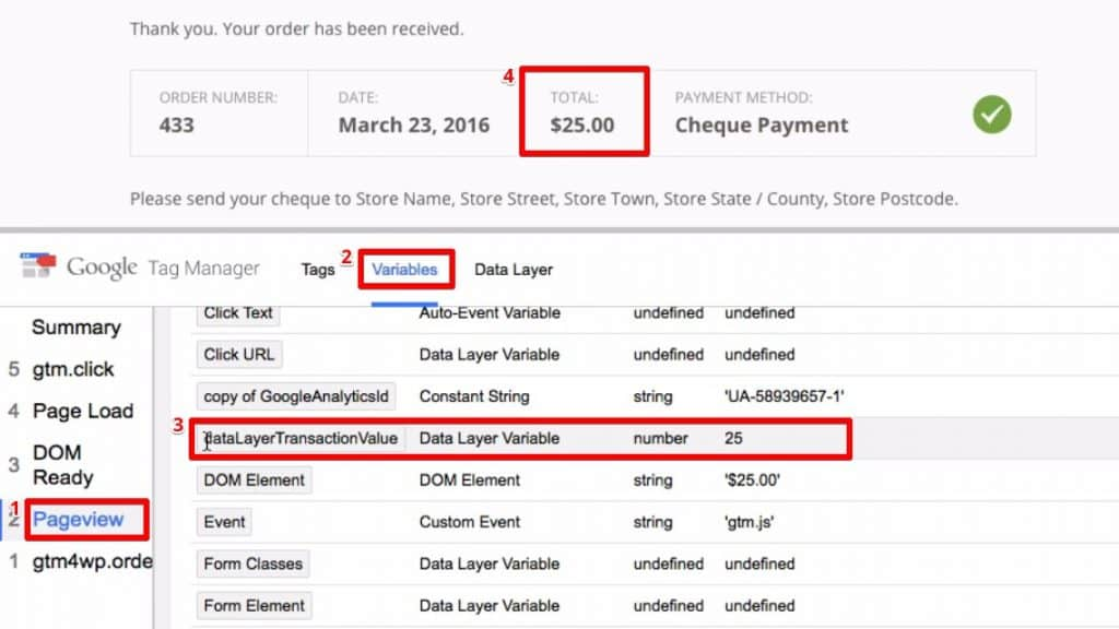 Checking the transaction value of the order from the variables section of the pageview event in Google Tag Manager