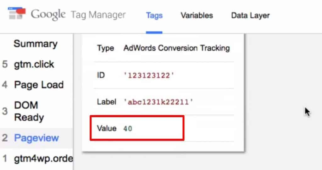 Conversion value in the Tags fired on the Google Tag Manager