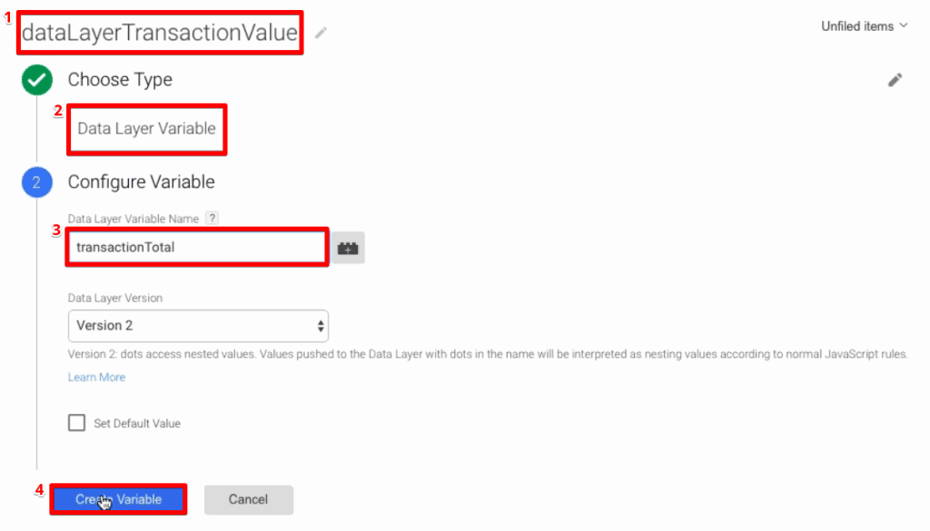 Creating a new data layer type variable in Google Tag Manager