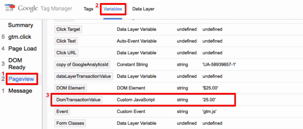 Custom JavaScript variable updates the correct order value from the transaction page of the demo shop