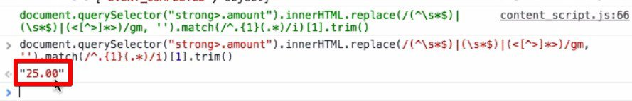 JavaScript code returns the total conversion value in the HTML console window