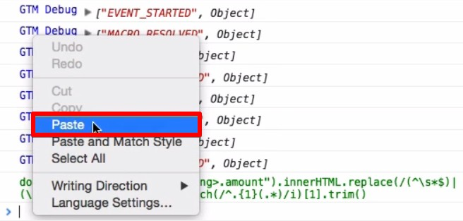 Pasting the JavaScript code into the HTML console window