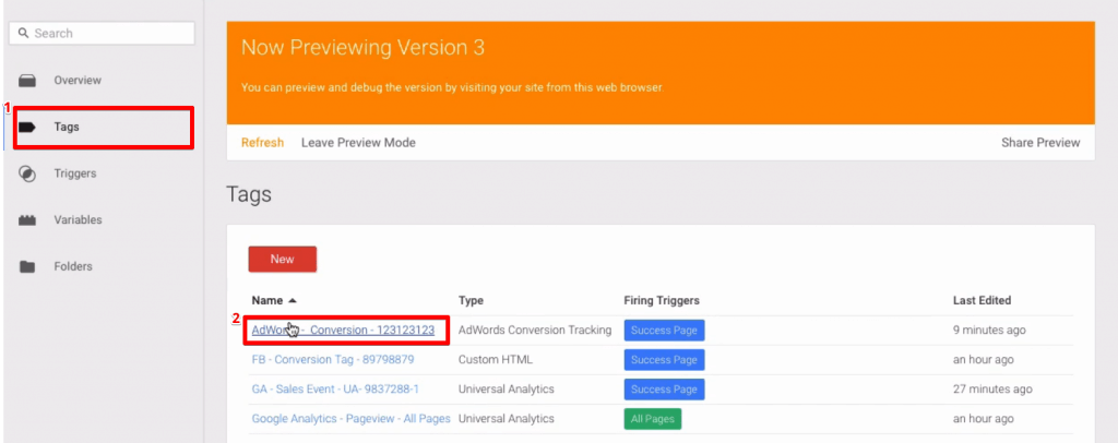 Selecting a Tag from the Google Tag Manager